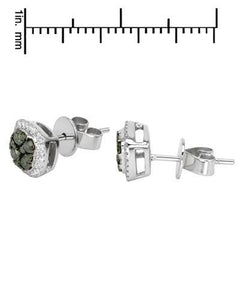 Brand New Earring with 0.5ctw of Precious Stones - diamond and diamond 14K White gold