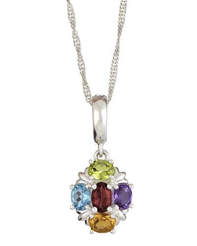 Brand New Necklace with 1.4ctw of Precious Stones - amethyst, citrine, garnet, peridot, and topaz 925 Silver sterling silver