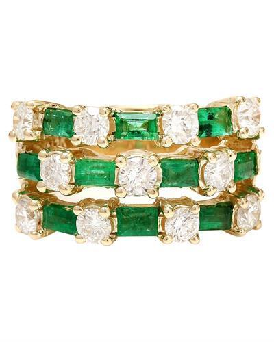 2.70 Carat Natural Emerald 14K Solid Yellow Gold Diamond Ring