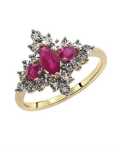 Brand New Ring with 1.08ctw of Precious Stones - diamond and ruby 10K Yellow gold