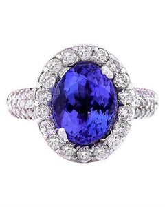 5.24 Carat Natural Tanzanite 14K Solid White Gold Diamond Ring