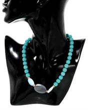 Load image into Gallery viewer, Brand New Necklace with 0ctw of Precious Stones - agate, crystal, moonstone, and turquoise  Two tone base metal