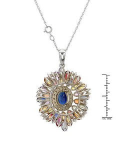 Brand New Necklace with 11.01ctw of Precious Stones - diamond, sapphire, and sapphire 14K White gold