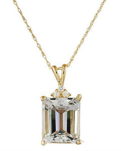 5.17 Carat Aquamarine 14k Yellow Gold Diamond Necklace