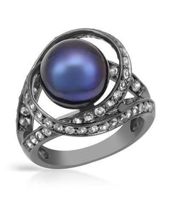 Brand New Ring with 1.3ctw of Precious Stones - pearl and topaz 925 Black sterling silver