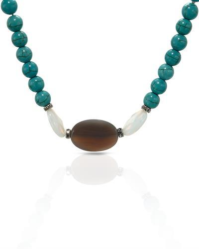 Brand New Necklace with 0ctw of Precious Stones - agate, crystal, moonstone, and turquoise  Two tone base metal