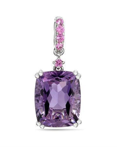 Brand New Pendant with 3.69ctw of Precious Stones - amethyst and sapphire 14K White gold