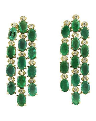 12.50 Carat Emerald 14K Yellow Gold Diamond Earrings