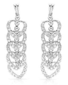 Lundstrom Brand New Earring with 0.85ctw diamond 14K White gold