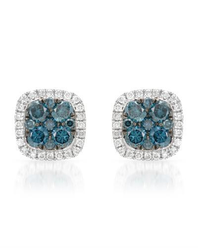 Brand New Earring with 0.58ctw of Precious Stones - diamond and diamond 14K White gold