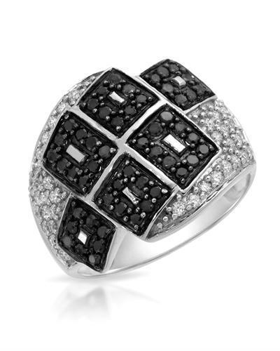 Lundstrom Brand New Ring with 1ctw of Precious Stones - diamond and diamond 14K White gold