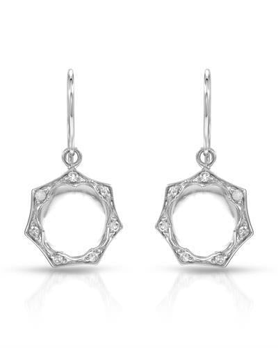 Brand New Earring with 0.16ctw of Precious Stones - diamond and quartz 14K White gold