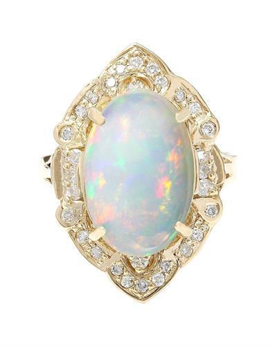 9.05 Carat Natural Opal 14K Solid Yellow Gold Diamond Ring