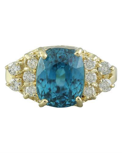 7.12 Carat Zircon 14K Yellow Gold Diamond Ring