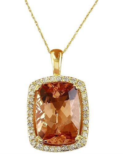 11.88 Carat Natural Morganite 14K Solid Yellow Gold Diamond Pendant Necklace