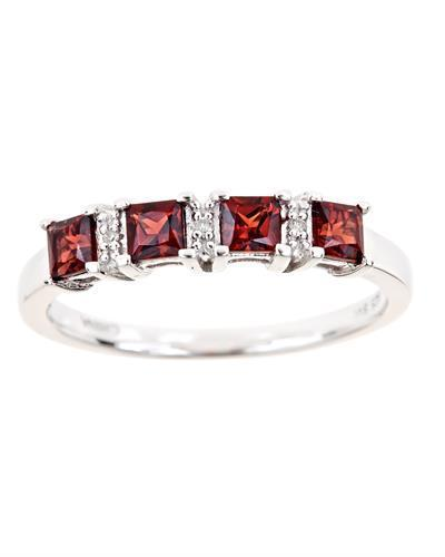 Brand New Ring with 0.9ctw of Precious Stones - diamond and garnet 925 Silver sterling silver