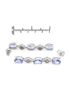 Brand New Earring with 0.94ctw of Precious Stones - diamond and tanzanite 14K White gold