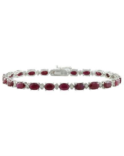 11.95 Carat Ruby 14K White Gold Diamond Bracelet