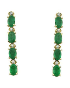 4.68 Carat Emerald 14K Yellow Gold Diamond Earrings