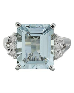 5.85 Carat Aquamarine 14K White Gold Diamond ring