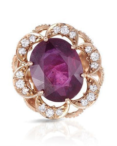 Lundstrom Brand New Ring with 16.04ctw of Precious Stones - diamond and ruby 14K Rose gold