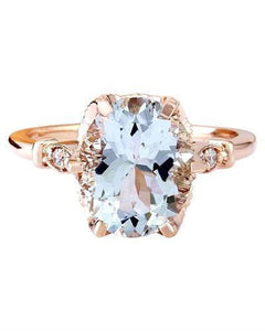 3.40 Carat Natural Aquamarine 14K Solid Rose Gold Diamond Ring