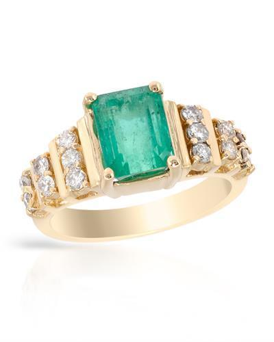 Brand New Ring with 2.55ctw of Precious Stones - diamond and emerald 14K Yellow gold