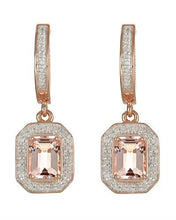 Load image into Gallery viewer, Brand New Earring with 2.11ctw of Precious Stones - diamond and morganite 14K/925 Rose Gold plated Silver
