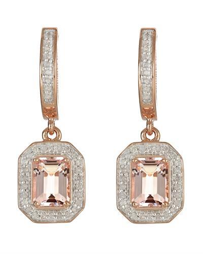 Brand New Earring with 2.11ctw of Precious Stones - diamond and morganite 14K/925 Rose Gold plated Silver