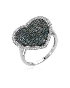 Lundstrom Brand New Ring with 0.81ctw of Precious Stones - diamond and diamond 10K White gold