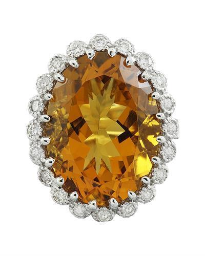15.50 Carat Citrine 14K White Gold Diamond Ring
