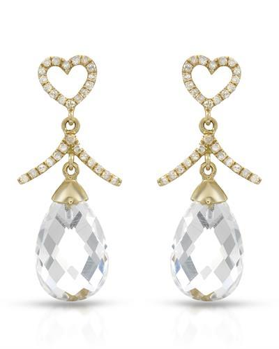 Brand New Earring with 8.75ctw of Precious Stones - diamond and quartz 14K Yellow gold