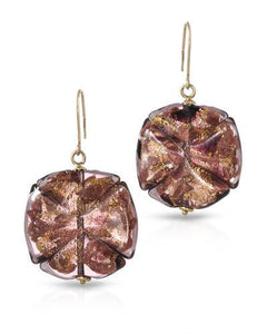 Millana Brand New Earring 14K Yellow gold and  Purple Murano Glass