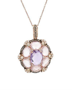 Brand New Necklace with 10.63ctw of Precious Stones - amethyst, diamond, diamond, and quartz 18K Rose gold