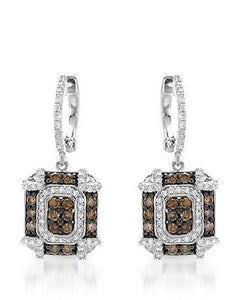 Brand New Earring with 1.04ctw of Precious Stones - diamond and diamond 14K White gold
