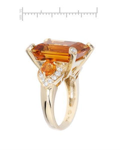 Lundstrom Brand New Ring with 19.07ctw of Precious Stones - citrine, diamond, and sapphire 14K Yellow gold