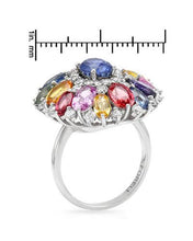 Load image into Gallery viewer, Brand New Ring with 9.68ctw of Precious Stones - diamond, sapphire, and sapphire 14K White gold