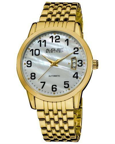 AUGUST Steiner AS8026YG Brand New Automatic date Watch with 0ctw mother of pearl