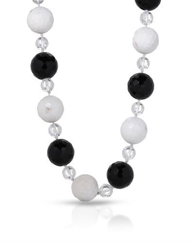 Brand New Necklace with 0ctw of Precious Stones - agate, onyx, and quartz 14K Yellow gold