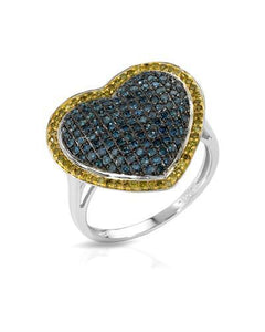 Lundstrom Brand New Ring with 0.86ctw of Precious Stones - diamond and diamond 10K White gold