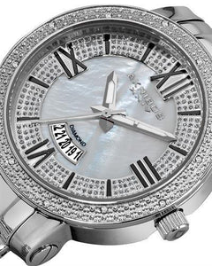 Akribos XXIV AK507SS Brand New Swiss Quartz date Watch with 0.6ctw of Precious Stones - diamond and mother of pearl