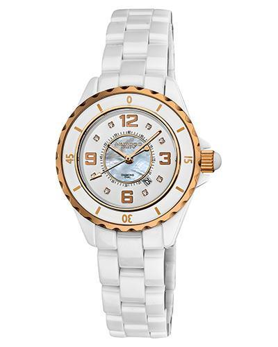 Akribos XXIV AK485WTR Brand New Japan Quartz date Watch with 0.04ctw of Precious Stones - diamond and mother of pearl