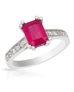 Brand New Ring with 2.95ctw of Precious Stones - diamond and ruby 14K White gold