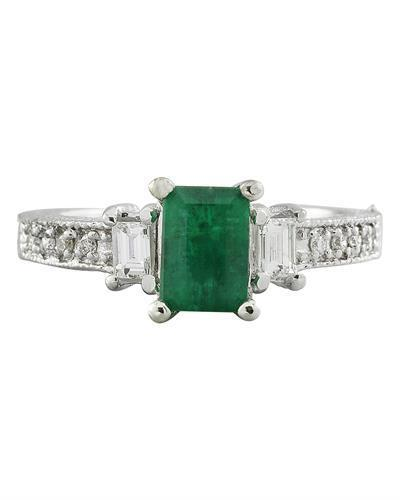 1.50 Carat Emerald 14K White Gold Diamond Ring