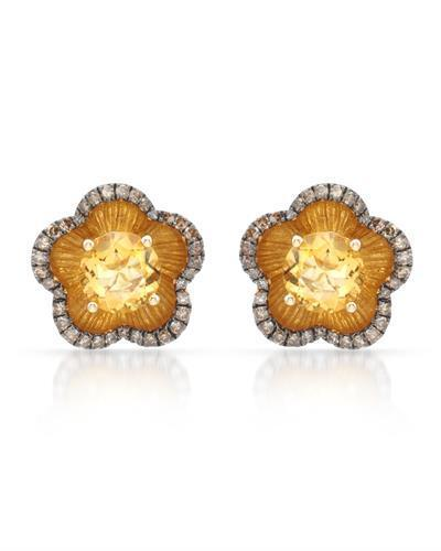 Brand New Earring with 3.02ctw of Precious Stones - citrine and diamond 14K Yellow gold