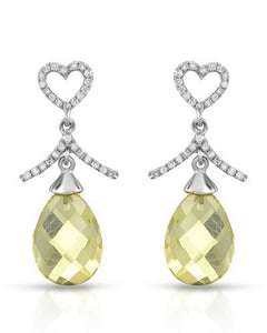 Brand New Earring with 8.75ctw of Precious Stones - diamond and quartz 14K White gold