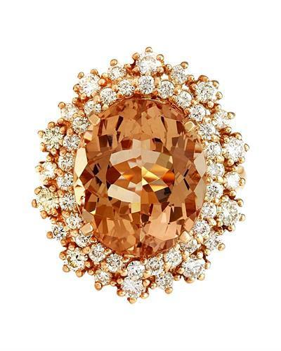 9.08 Carat Natural Morganite 14K Solid Rose Gold Diamond Ring