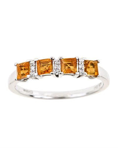 Brand New Ring with 0.58ctw of Precious Stones - citrine and diamond 925 Silver sterling silver
