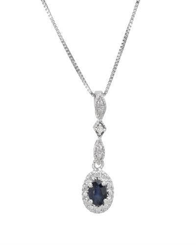 Brand New Necklace with 0.22ctw of Precious Stones - diamond and sapphire 925 Silver sterling silver