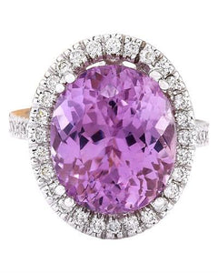 14.07 Carat Natural Kunzite 14K Solid White Gold Diamond Ring